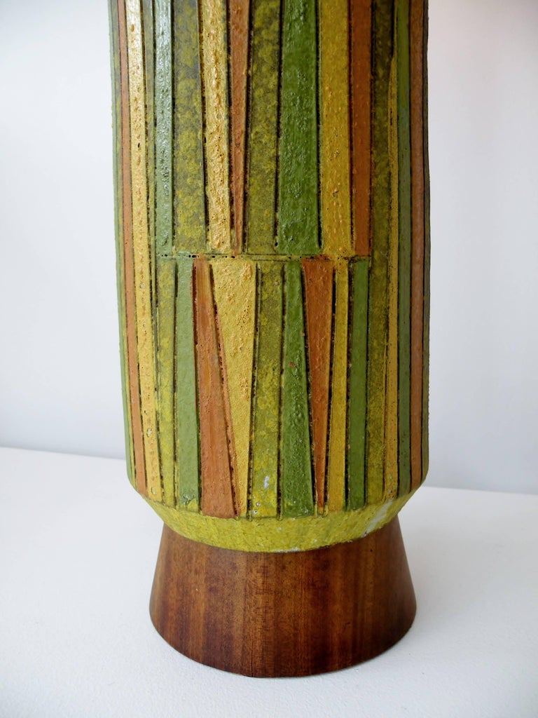 Large Aldo Londi Milano Moderno Bitossi Italian Art Pottery Table Lamp For Sale 1