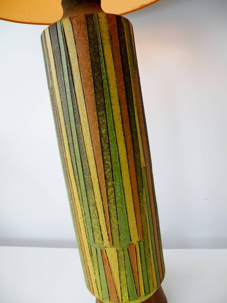 Mid-Century Modern Large Aldo Londi Milano Moderno Bitossi Italian Art Pottery Table Lamp For Sale