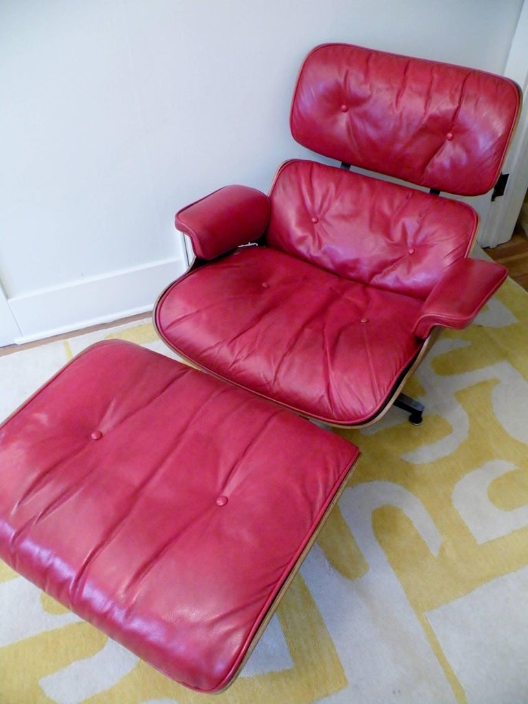 1960s Charles & Ray Eames Custom Red 670 671 Lounge Chair Ottoman Herman Miller For Sale 1