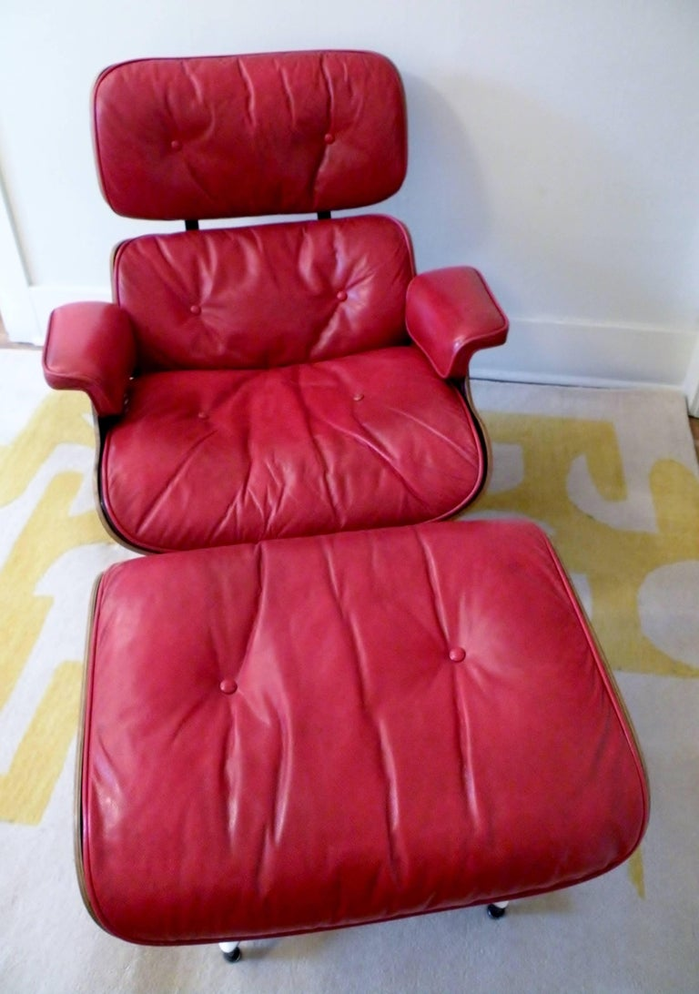 1960s Charles & Ray Eames Custom Red 670 671 Lounge Chair Ottoman Herman Miller For Sale 2