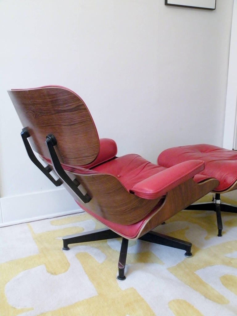 American 1960s Charles & Ray Eames Custom Red 670 671 Lounge Chair Ottoman Herman Miller For Sale