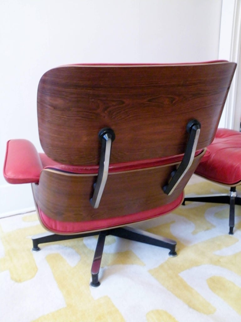 1960s Charles & Ray Eames Custom Red 670 671 Lounge Chair Ottoman Herman Miller In Good Condition For Sale In Denver, CO