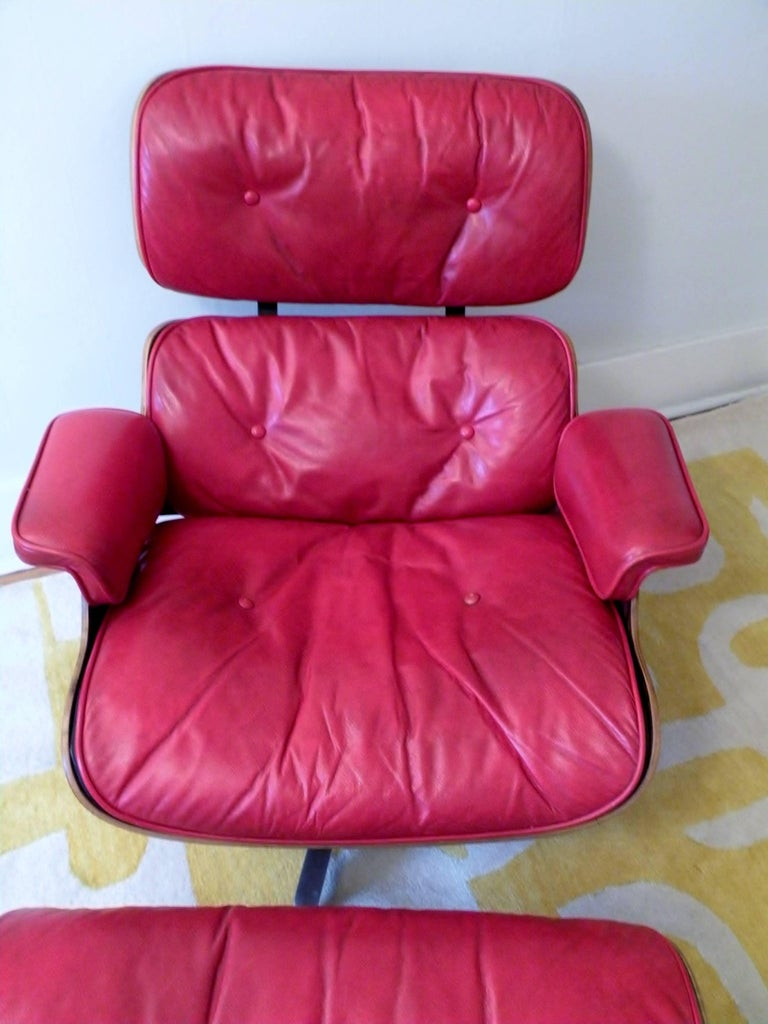 1960s Charles & Ray Eames Custom Red 670 671 Lounge Chair Ottoman Herman Miller For Sale 3