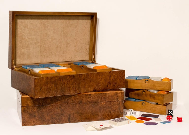 Mid-Century Modern 1970s, Italian European Poker Plaques Chip 1275 Piece Set Briar Wood Cases For Sale