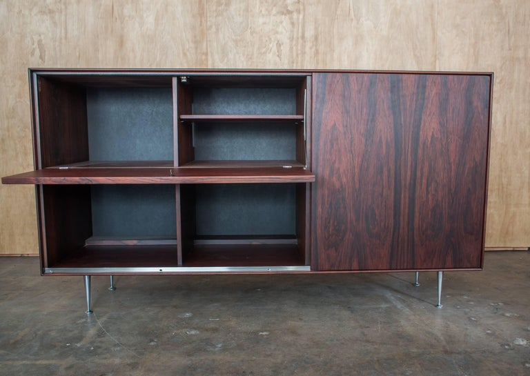Mid-Century Modern George Nelson & Assoc. Herman Miller Rosewood Thin Edge Series Credenza Dry Bar For Sale