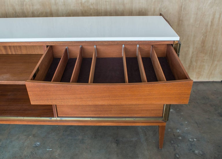 American Paul McCobb Irwin Collection Sideboard Credenza Mahogany Marble Calvin Furniture For Sale