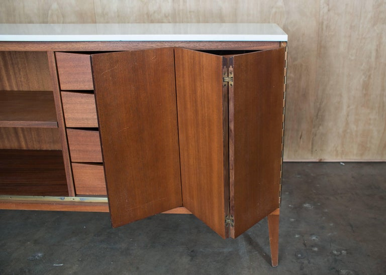 20th Century Paul McCobb Irwin Collection Sideboard Credenza Mahogany Marble Calvin Furniture For Sale