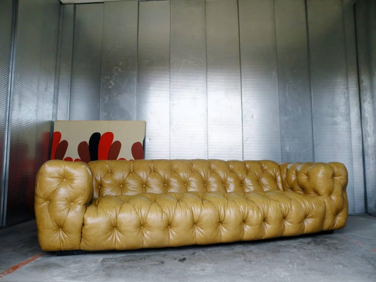 Mid-Century Modern Milo Baughman Thayer Coggin Button Tufted Tuxedo Chesterfield Sofa For Sale
