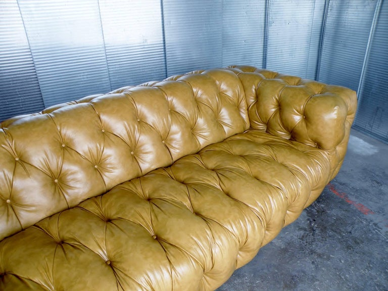 20th Century Milo Baughman Thayer Coggin Button Tufted Tuxedo Chesterfield Sofa For Sale