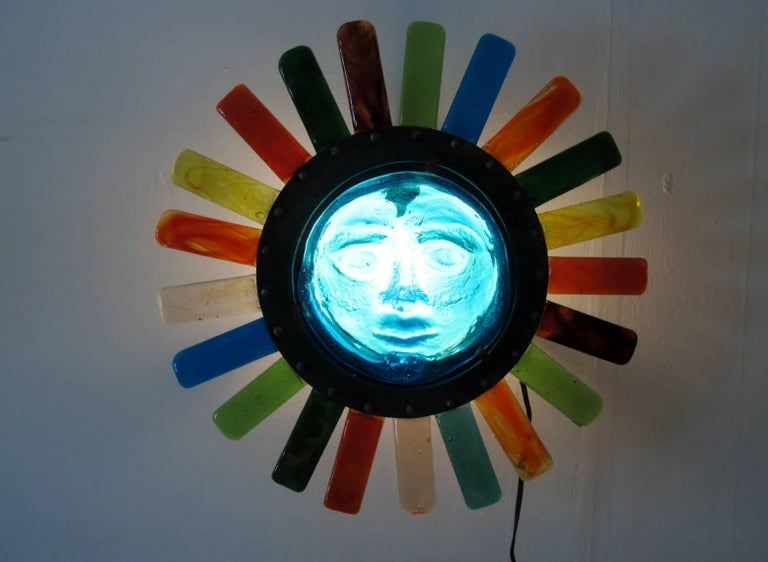 Molded Filipe Delfinger Mexican Modernist Glass Sun Wall Lamp Feders For Sale