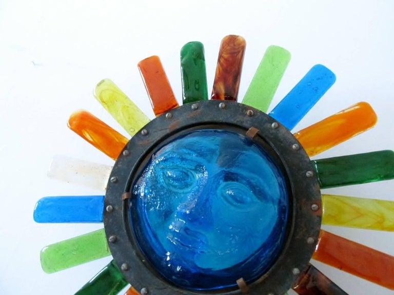 Filipe Delfinger Mexican Modernist Glass Sun Wall Lamp Feders For Sale 2