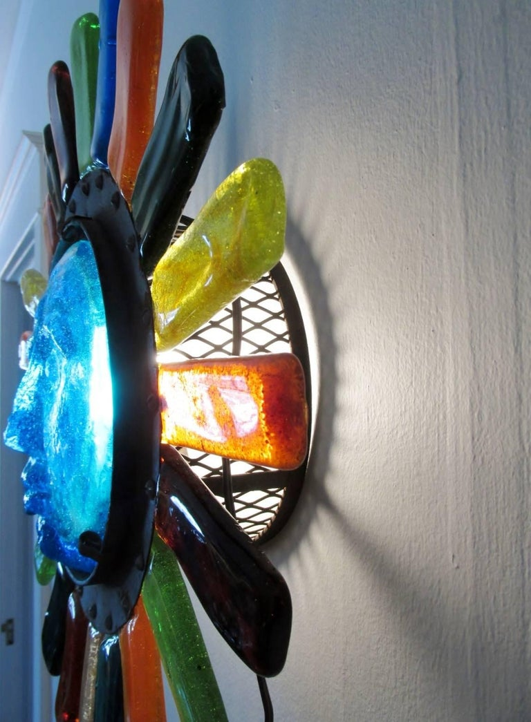 Mid-20th Century Filipe Delfinger Mexican Modernist Glass Sun Wall Lamp Feders For Sale