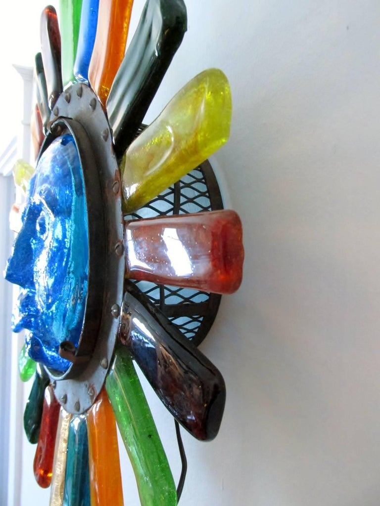 Iron Filipe Delfinger Mexican Modernist Glass Sun Wall Lamp Feders For Sale