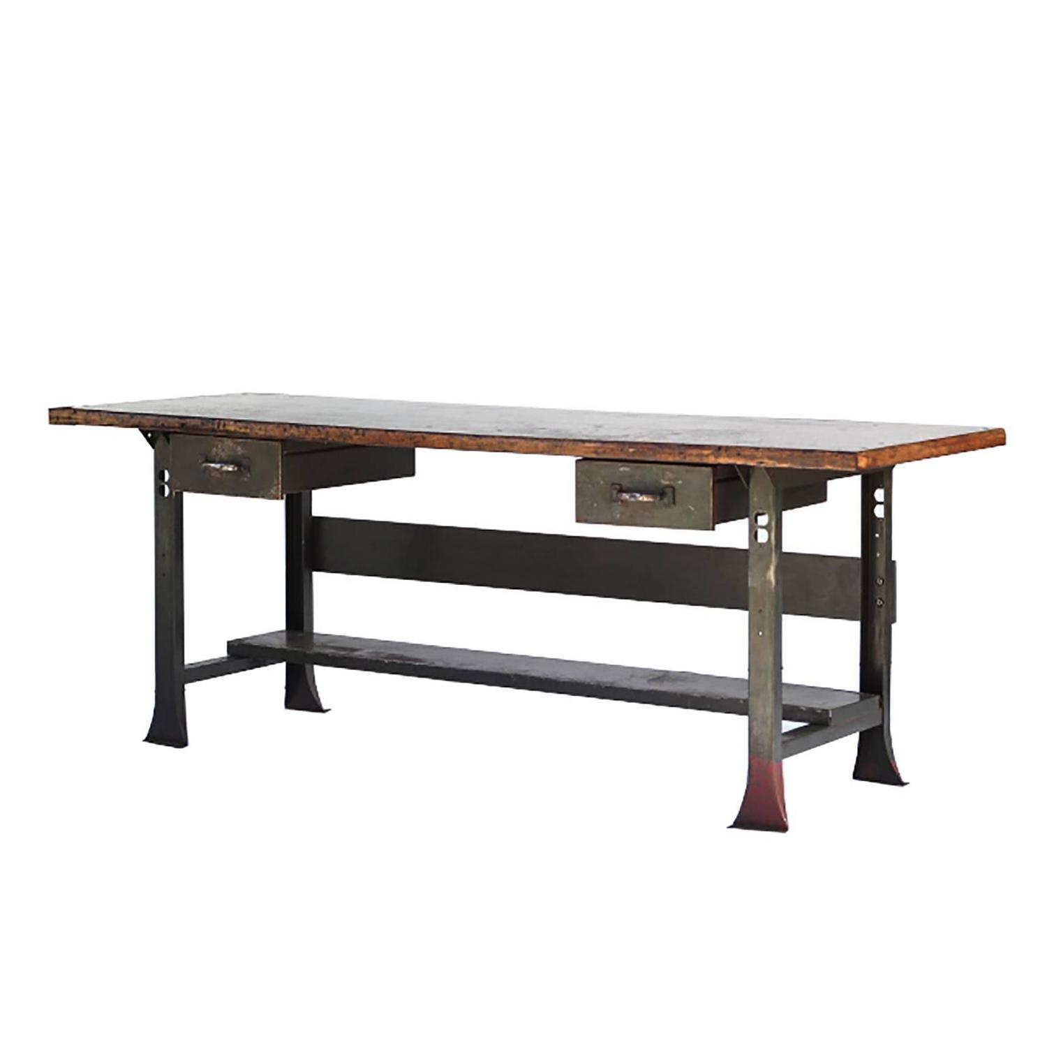 Shop Table: 1930s Industrial Table/Workbench With Orignial Machine