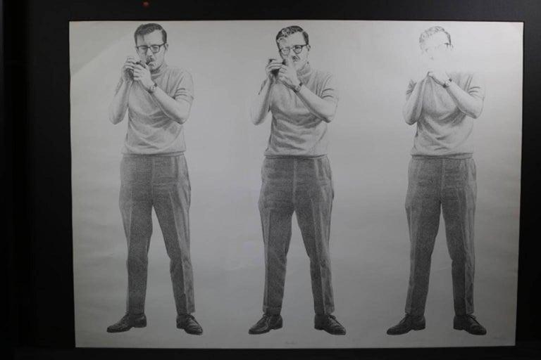 """Smoker""  Artist: Gerald Gooch 1970 Charcoal sketch Matte grey frame shadowboxed Black matte UV protection glass"