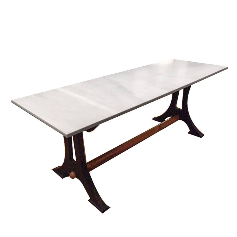 19th Century French Marble, Cast Iron and Wood Baker's Work Table, circa 1800s
