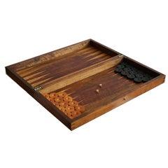 19th-Early 20th Century Backgammon Board with Bone Dice, circa 1880-1920s