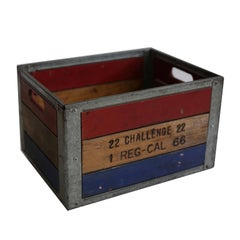 Early 20th Century Painted Wood and Steel Milk Crate, circa 1940s