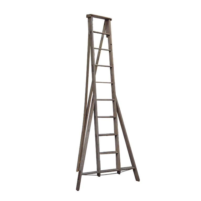 Large Wooden Apple Ladder, circa 1930-1940s For Sale