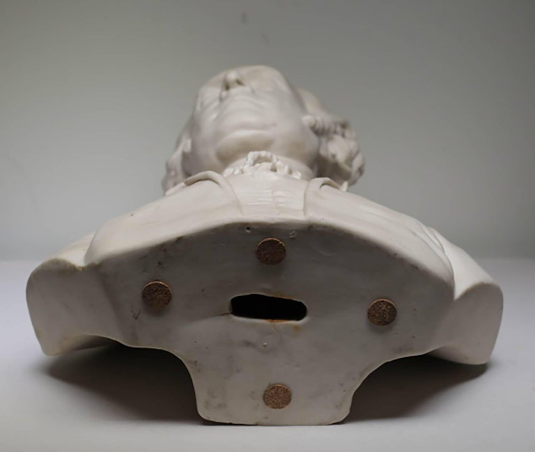 19th Century Signed Bisque Porcelain Bust Made in London, circa 1800s In Excellent Condition For Sale In San Francisco, CA