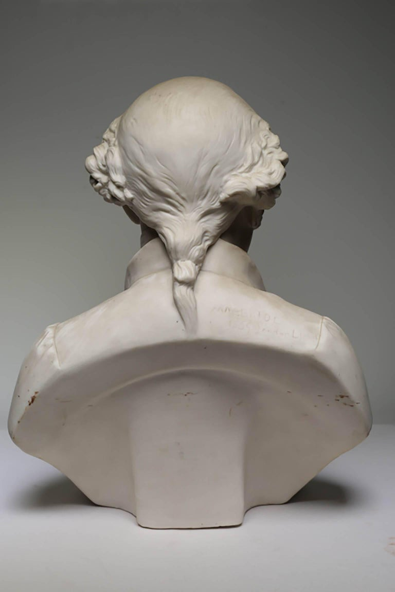 Victorian 19th Century Signed Bisque Porcelain Bust Made in London, circa 1800s For Sale