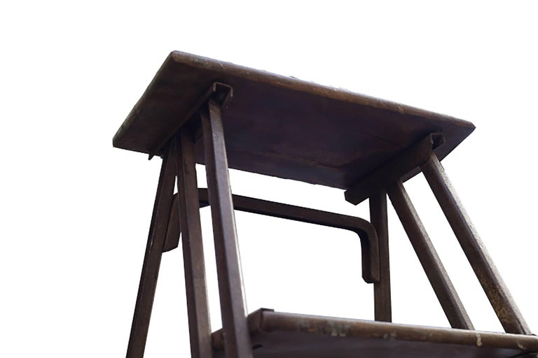 20th Century 1930s Steel and Wood Ladder For Sale