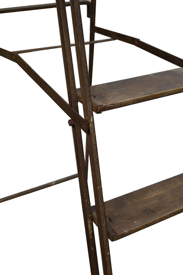 Industrial 1930s Steel and Wood Ladder For Sale