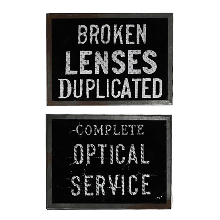 Pair of Early 20th Century Glass Optical Signs, circa 1910-1920 For Sale