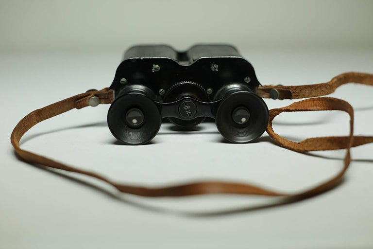 Metal Leather Wrapped Binoculars and Leather Case, circa 1940s-1950s For Sale