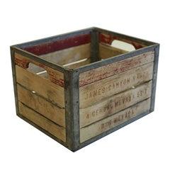 Vintage Wood and Metal Milk Crate, circa 1940-1950s