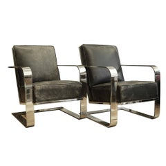 Pair of New Distressed Leather and Chrome Ralph Lauren Home Lounge Chairs