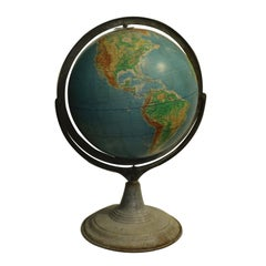 Early 20th Century World Globe on Metal Stand, circa 1940-1950s
