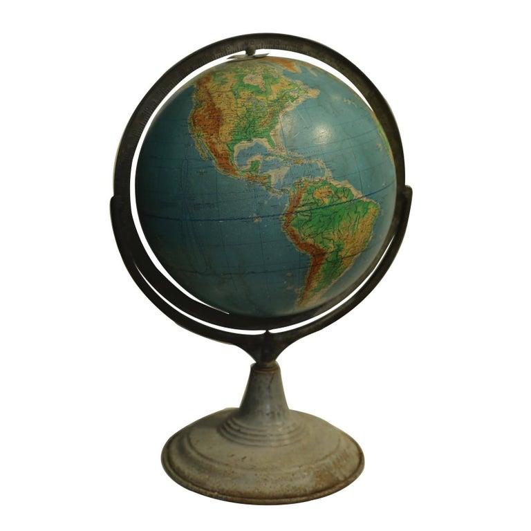 Early 20th Century World Globe on Metal Stand, circa 1940-1950s