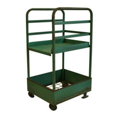 Vintage Rolling Factory Cart with Removable Tray, circa 1940s