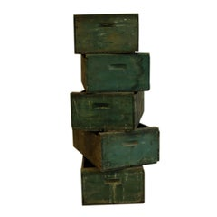 Collection of Rustic Green Wooden Boxes, circa 1940s