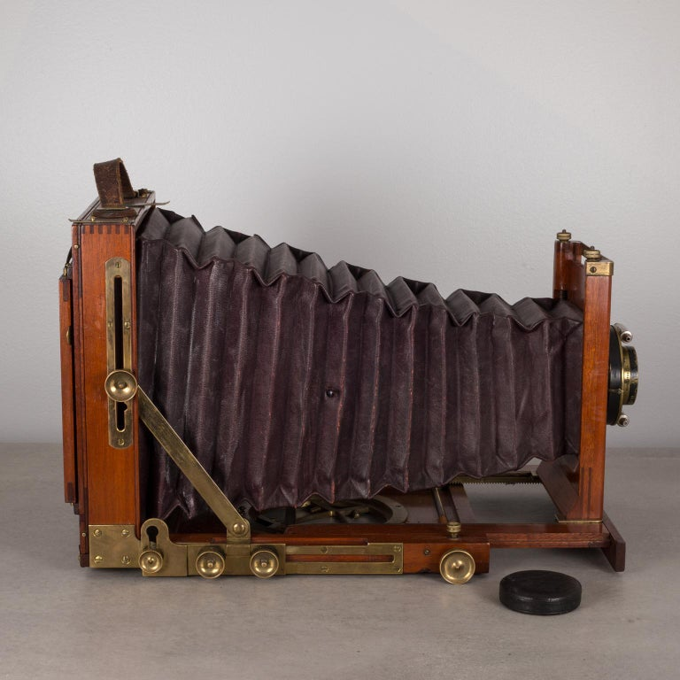 American Antique Mahogany and Large Brass Folding Camera, circa 1890s For Sale