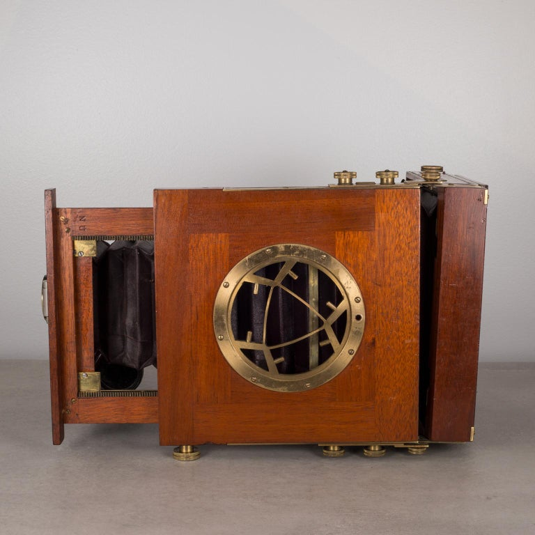 19th Century Antique Mahogany and Large Brass Folding Camera, circa 1890s For Sale