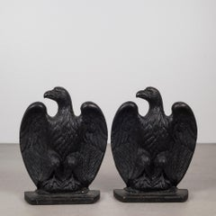 Pair of Vintage Cast Iron Eagle Bookends c. 1940-1950s