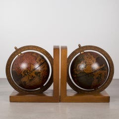 Pair of Rotating Globe Bookends with Brass Tips c. 1950-1970s