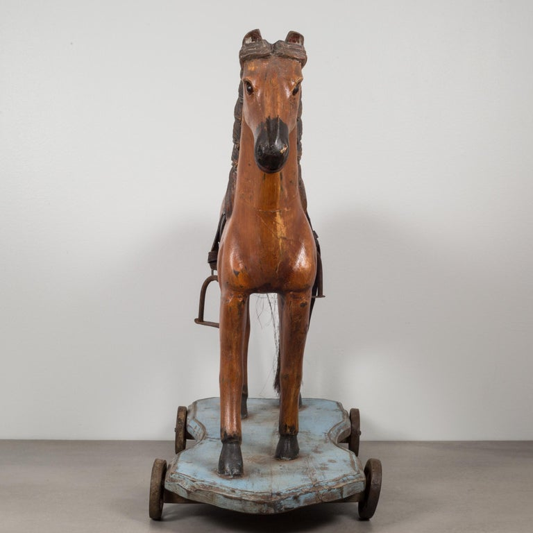 Mid-Century Modern Handmade Horse Pull Toy, circa 1950 For Sale