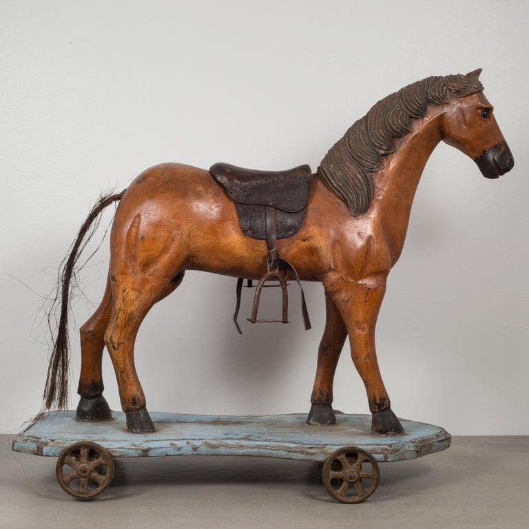 American Handmade Horse Pull Toy, circa 1950 For Sale