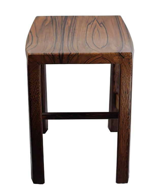 Custom Studio Weng Wood And Zebrawood Stool For Sale At