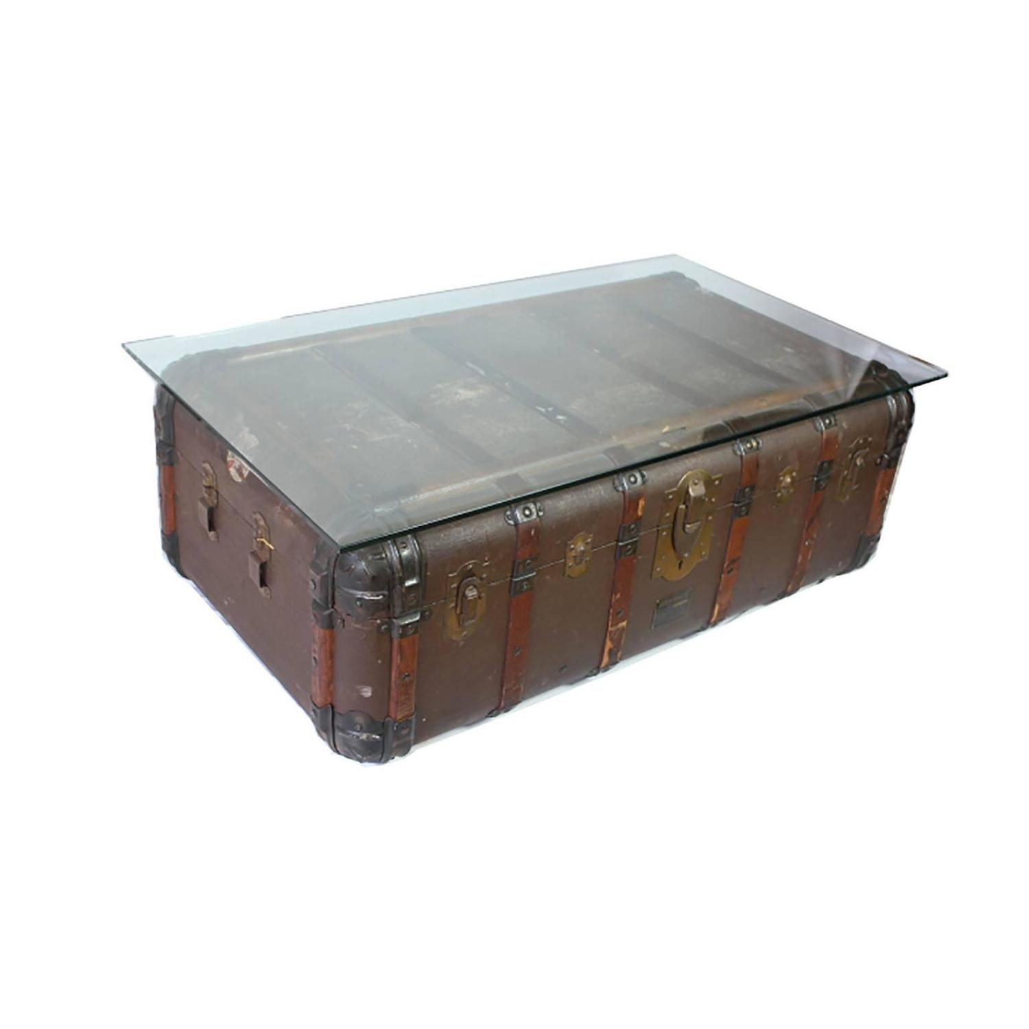 Antique Steamer Trunk Coffee Table Side Table Circa 1900 At 1stdibs