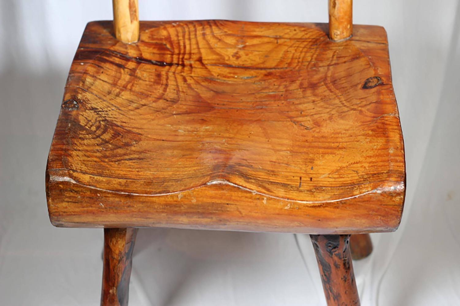 1940s Primitive Handmade Hickory Side Chair For Sale at