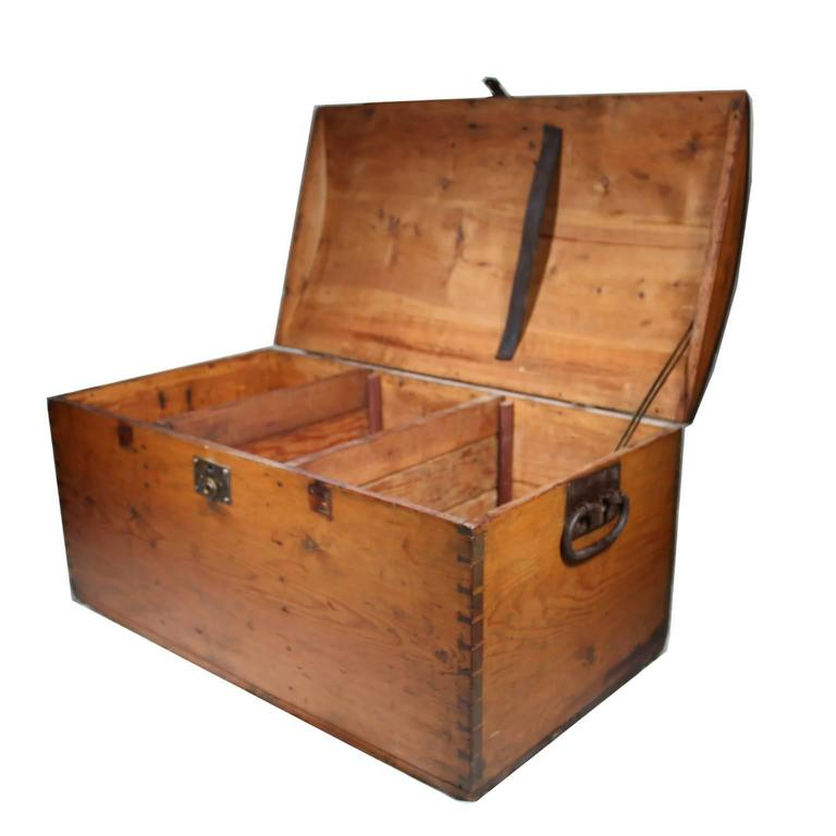19th Century Wooden Trunk With Dovetail Joints For Sale At