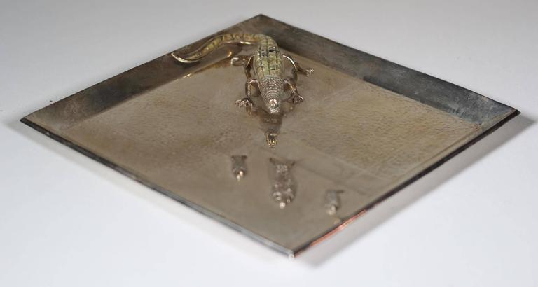 Silver Plated Alligator And Fish Tray By Mexican Artist