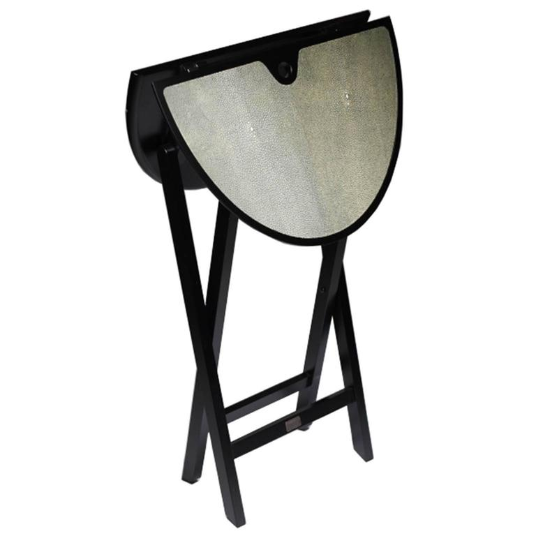 Folding Small Table Structure In Matte Black Top Covered Reen Stingray Skin