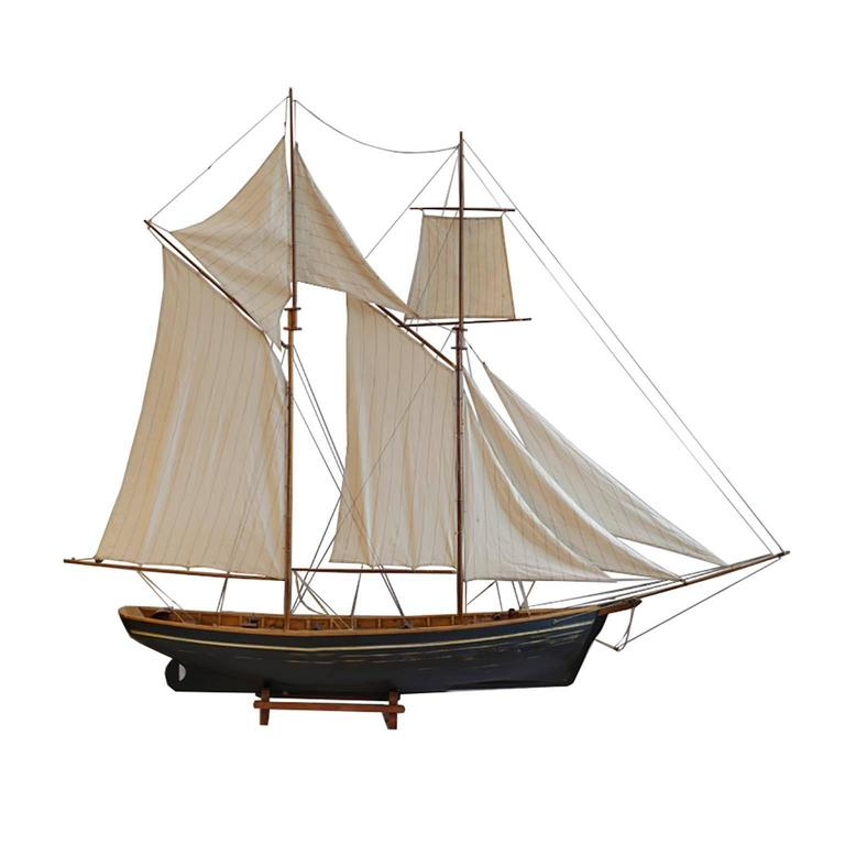 Rustic Early 20th Century Monumental Wooden Ship Model, circa 1940s For Sale