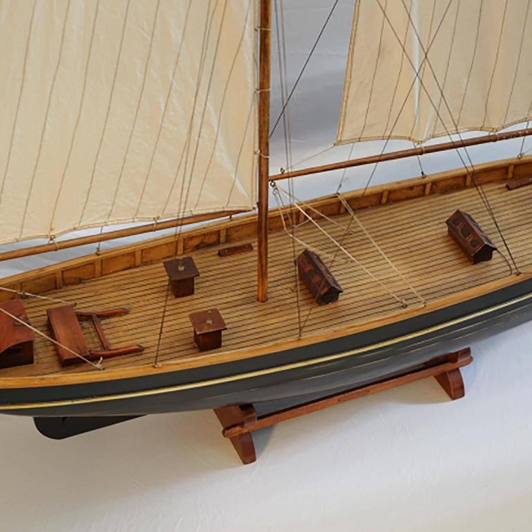 American Early 20th Century Monumental Wooden Ship Model, circa 1940s For Sale