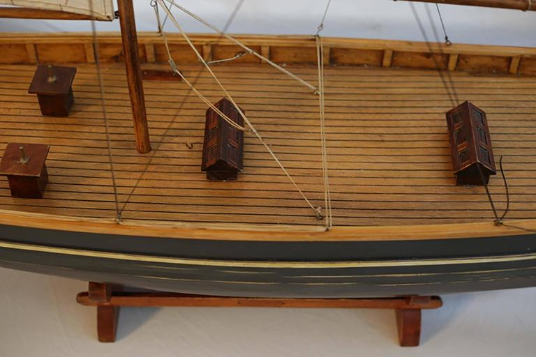 Fabric Early 20th Century Monumental Wooden Ship Model, circa 1940s For Sale